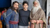 Allu Sirish with Chiranjeevi and Amitabh Bachchan on sets of Sye Raa Narasimha Reddy. See pic