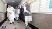 Amit Shah sweeps floor at AIIMS for PM Modi's birthday week, seva saptah | Watch