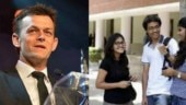 Adam Gilchrist interacts with Delhi University students
