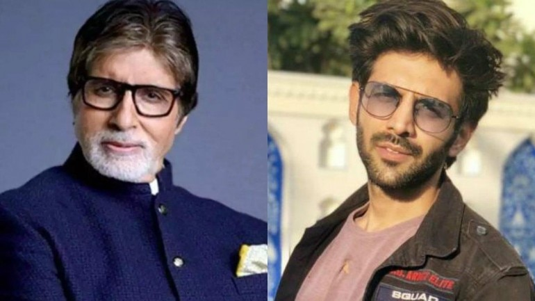 Amitabh Bachchan and Kartik Aaryan were on sets for an ad shoot.