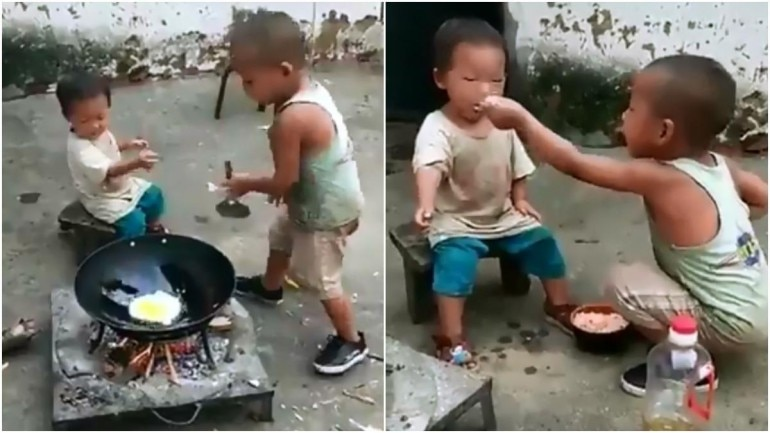Viral video of elder brother making fried rice for younger sister Photo: Twitter/ Fess