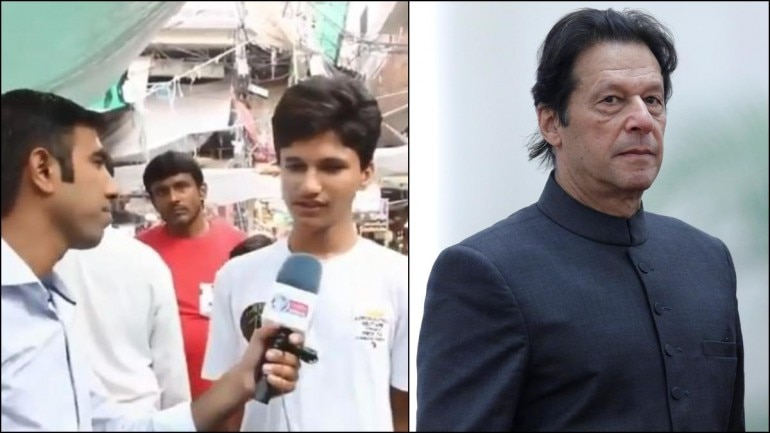 Screenshot (L) from video posted on Twitter by Ahmed Waqar Bibi and file photo of Imran Khan (R) from Reuters.