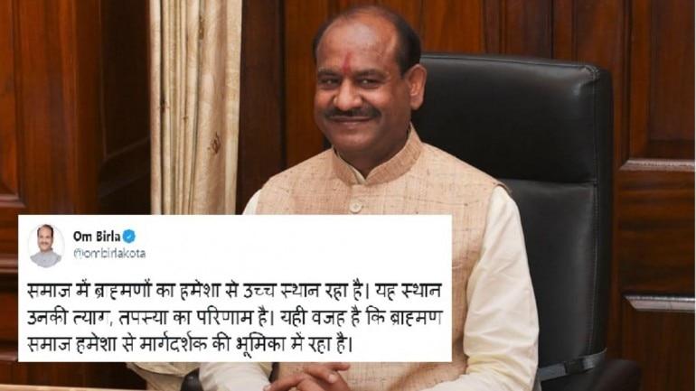 Om Birla, brahmins tweet