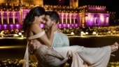 Priyanka Chopra surprises Nick Jonas with rose and a kiss at his concert. Watch video