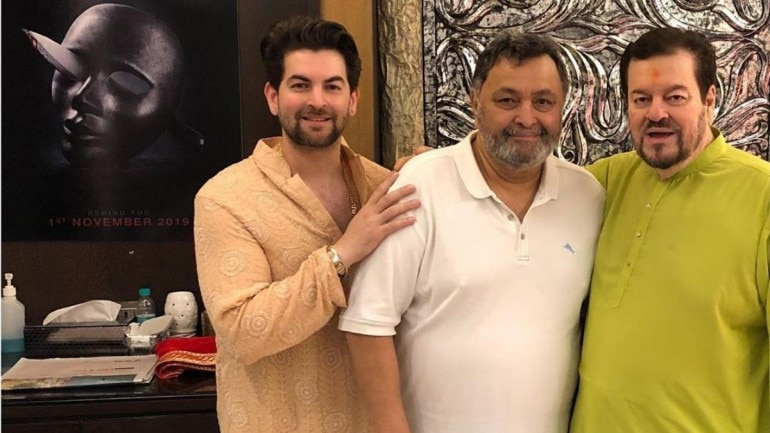 Image result for latest images of Rishi Kapoor visits Neil Nitin Mukesh's home for Ganpati celebrations, see pics