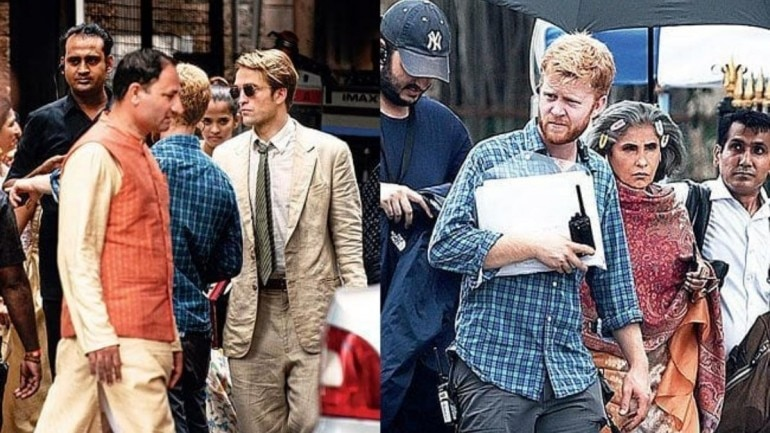 Robert Pattinson was shooting in South Bombay yesterday. Dimple Kapadia was also spotted on the set.