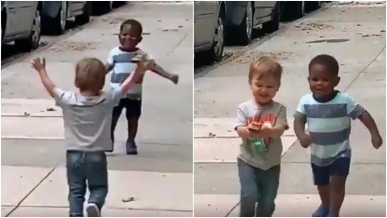 Adorable video of two toddlers has been going viral Photo: Facebook/ Michael D Cisneros
