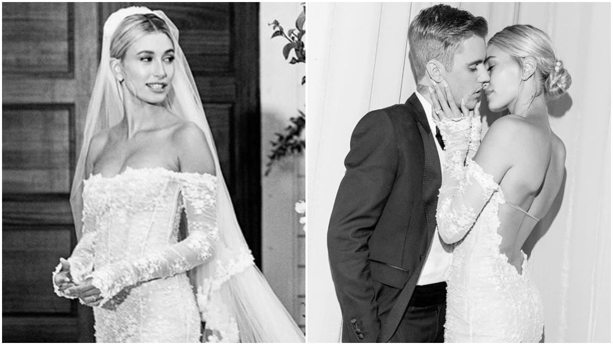 Hailey Baldwin Is The Perfect Bride In Off Shoulder Gown For Wedding With Justin Bieber First Pics