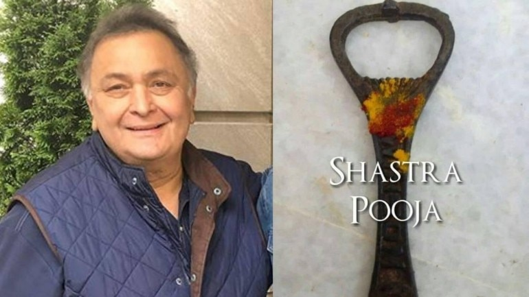 Rishi Kapoor worshipped a bottle opener for Shastra Puja on Dussehra this year.