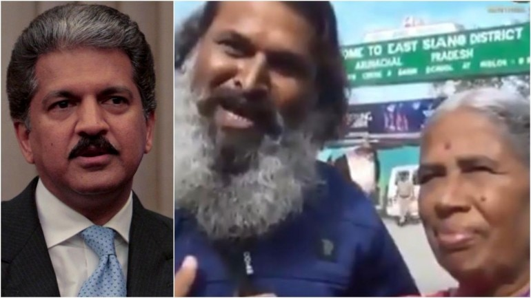 File photo of Anand Mahindra (L) from Reuters and screenshot (R) from Manoj Kumar's tweet.