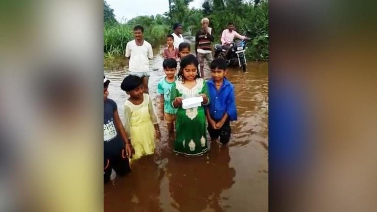 Karnataka: Little girl reads letter in knee-deep water, slams public servants