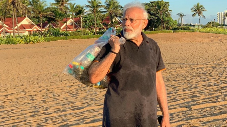 What PM Modi was seen doing this morning at a beach in Mamallapuram is popularly known as 'plogging'. (Photo: Instagram/narendramodi)