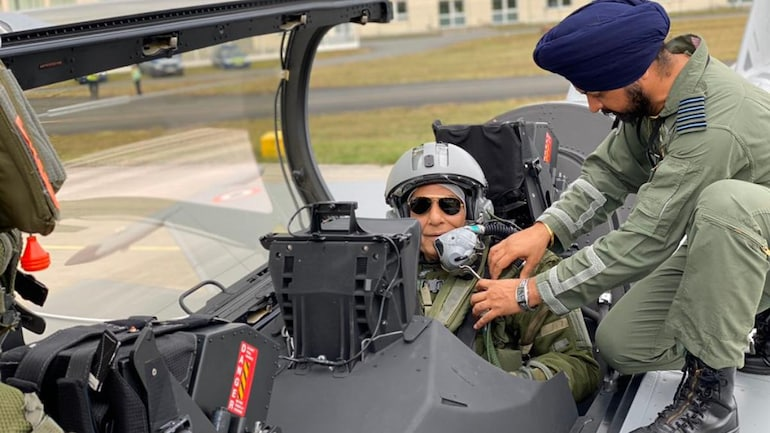 Defence Minister Rajnath Singh getting ready to fly in first Indian Rafale jet (Twitter/Rajnath Singh)