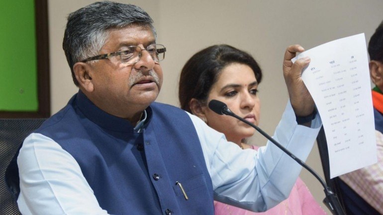 Addressing a press conference on Saturday, Ravi Shankar Prasad said three movies collectively earned Rs 120 crore on October 2 and so, there's no economic slowdown at all. (Photo: PTI)