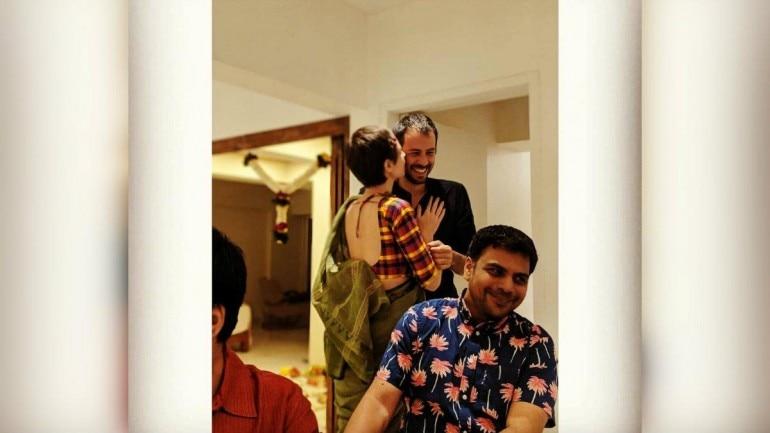 Kalki Koechlin and Guy Hershberg at a Diwali party.