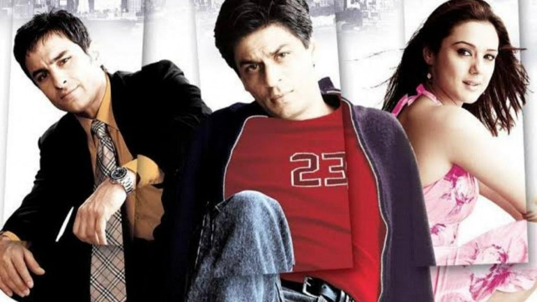 Saif Ali Khan, Shah Rukh Khan and Preity Zinta in a poster of Kal Ho Naa Ho.