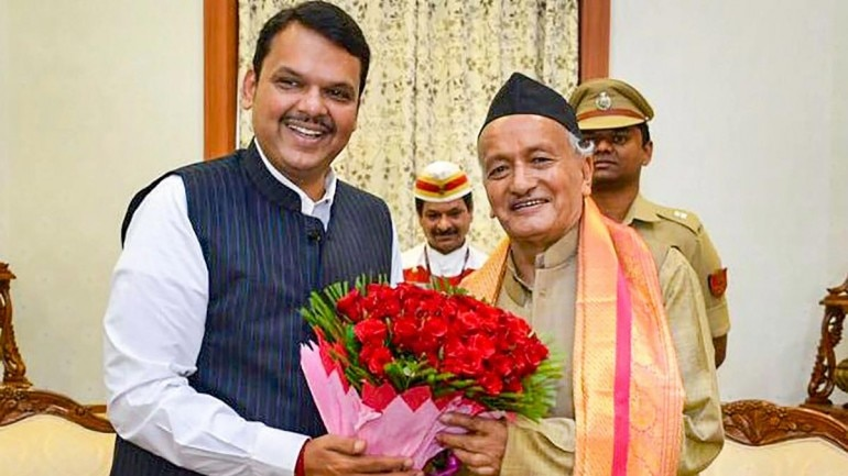 BJP leader Devendra Fadnavis with Maharashtra Governor Bhagat Singh Koshyari. (Photo: PTI)