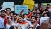 ABVP members protesting JNU hostel fee hike stopped by police