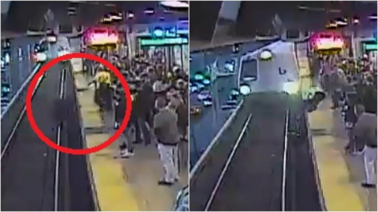Stills from video shared by SFBART on Twitter showing the man falling on to the train tracks (L) and transit worker rescuing him (R). (Photos: Twitter)