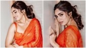 Bhumi Pednekar in tangerine saree takes the shimmer game a notch above. We love it