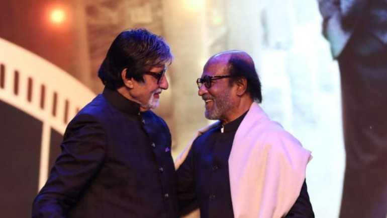 Amitabh Bachchan with Rajinikanth at IFFI 2019