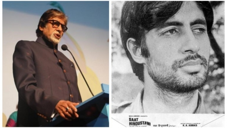 Left; Amitabh Bachchan at IFFI 2019. Right; picture credits: Film History Pics