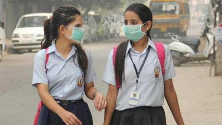 Wear Anti-pollution Reopen Students Schools Masks Delhi