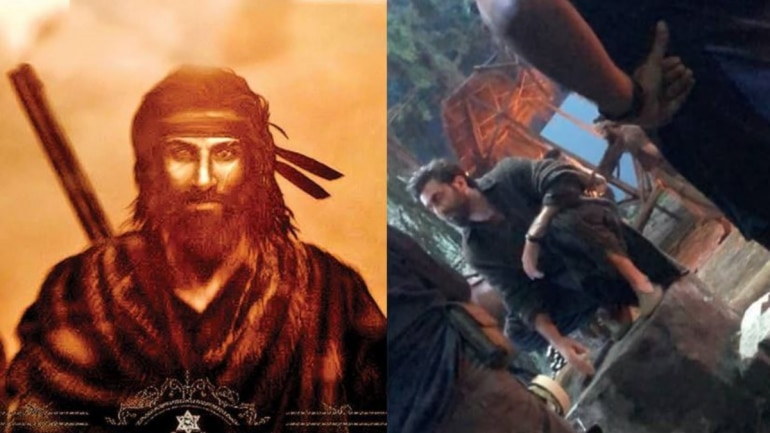 A picture of Ranbir Kapoor shooting for Shamshera has surfaced online.