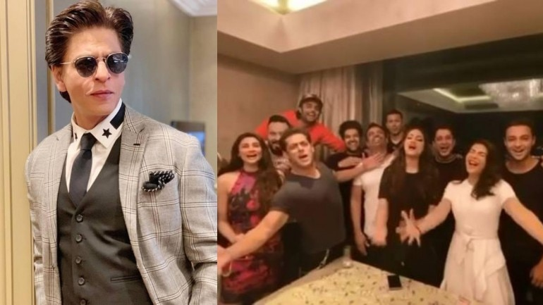 Salman Khan wished Shah Rukh Khan on his birthday with his gang.