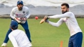 Virat Kohli faces Mohammed Shami during twilight ahead of Day-night Test