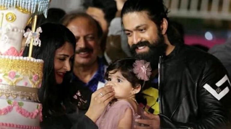 Yash, Radhika Pandit and their daughter Yash