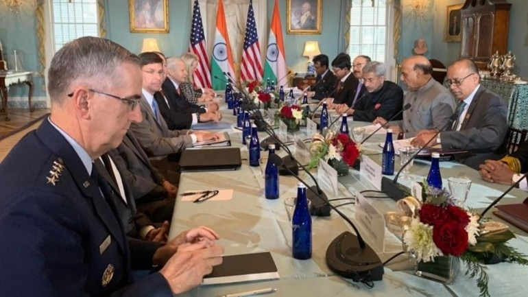 Image result for pics of jaishankar and rajnath singh with pompeo and esper