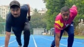 Anil Kapoor is running track with Olympic sprinter Yohan Blake. See pics