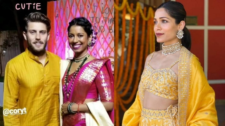 Freida Pinto twinned with fiance Cory Tran at her sister Sharon's wedding in Assam.