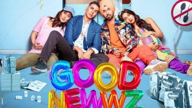Kareena Kapoor Khan, Akshay Kumar, Diljit Dosanjh and Kiara Advani in a poster of Good Newwz.
