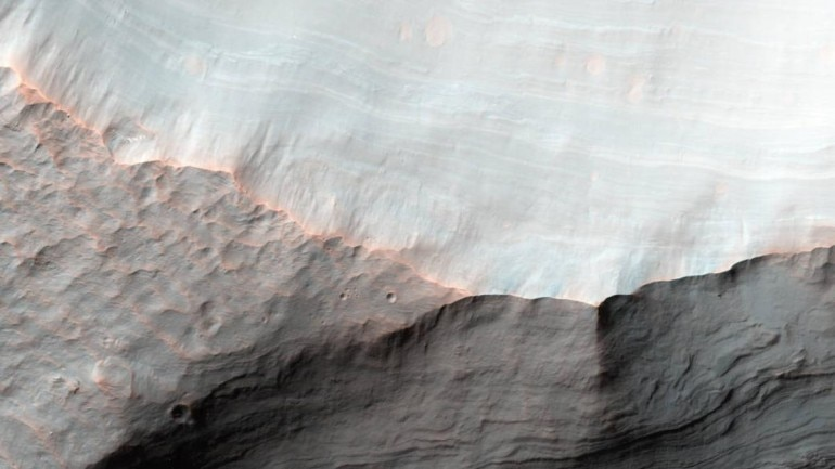 A map of water ice on Mars, the layer just an inch below Red Planet's surface