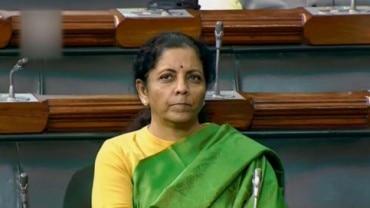 Finance Minister Nirmala Sitharaman in Lok Sabha on Thursday (LSTV grab via PTI)
