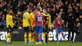 Pierre-Emerick Aubameyang scores before being sent off as Arsenal draw 1-1 at Crystal Palace