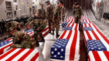 The claim with the photo says Iran has taken the revenge of the killing of General Soleimani. The post gives the impression that these are the coffins of American soldiers who were allegedly killed in the Iranian missile attack.