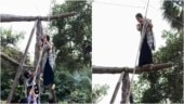 Nazar actress Monalisa climbs rope in a saree for action sequence, husband Vikrant says proud of you