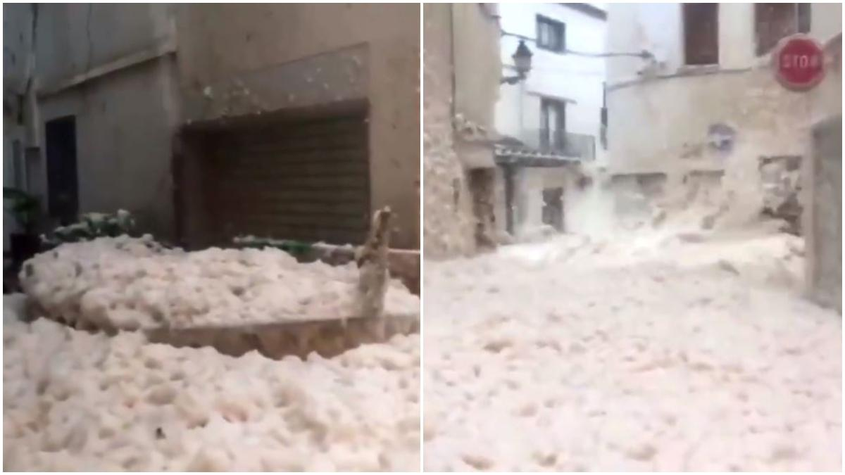Froth covers streets of Spain Photo: Twitter/reuters