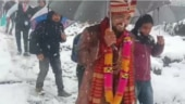 Groom treks 4 km with his baraat after heavy snowfall closes roads in Uttarakhand
