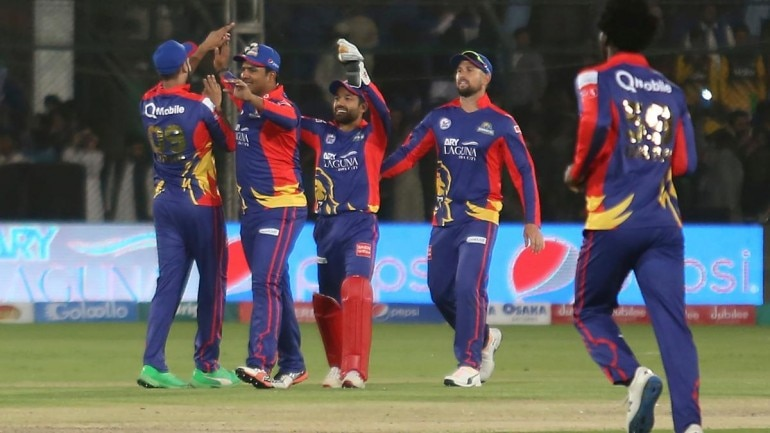 Karachi Kings players celebrating after registering maiden win in PSL 2020.(AP Photo)