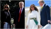 Melania Trump takes off from US in check pants-black turtleneck, lands in India in white jumpsuit