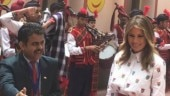 With floral rangolis, bagpipe tunes, Delhi govt school students welcome US First Lady Melania Trump