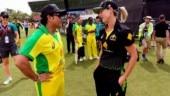 Sachin Tendulkar bats for an over against Ellyse Perry in Bushfire charity match