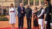Melania Trump opts for printed midi-dress at Donald Trump's ceremonial welcome at Rashtrapati Bhavan