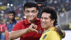 PTI file photo of Sourav Ganguly and Sachin Tendulkar at an ISL match