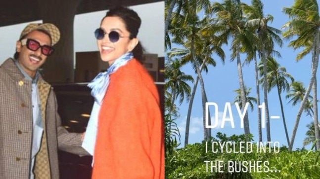 Deepika Padukone goes cycling into the bushes during ...