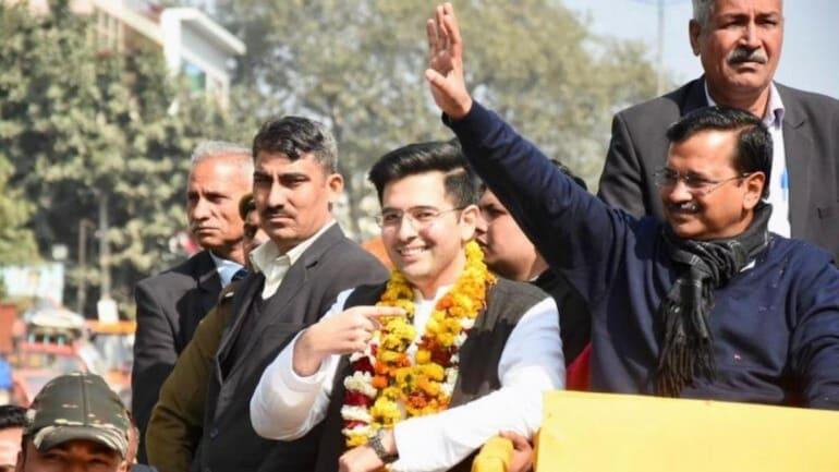 AAP MLA from Rajinder Nagar Raghav Chadha with Delhi CM Arvind Kejriwal. (Photo: Twitter/@raghav_chadha)